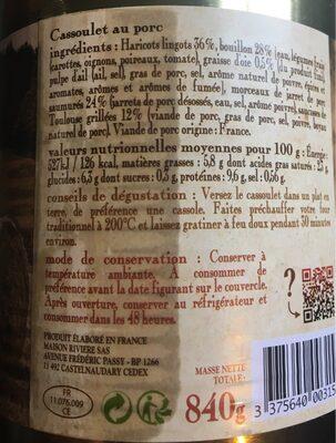 Cassoulet Castelnaudary au porc MAISON RIVIERE, boîte 4/4 - 4