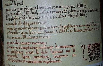 Cassoulet Castelnaudary au porc MAISON RIVIERE, boîte 4/4 - Voedingswaarden