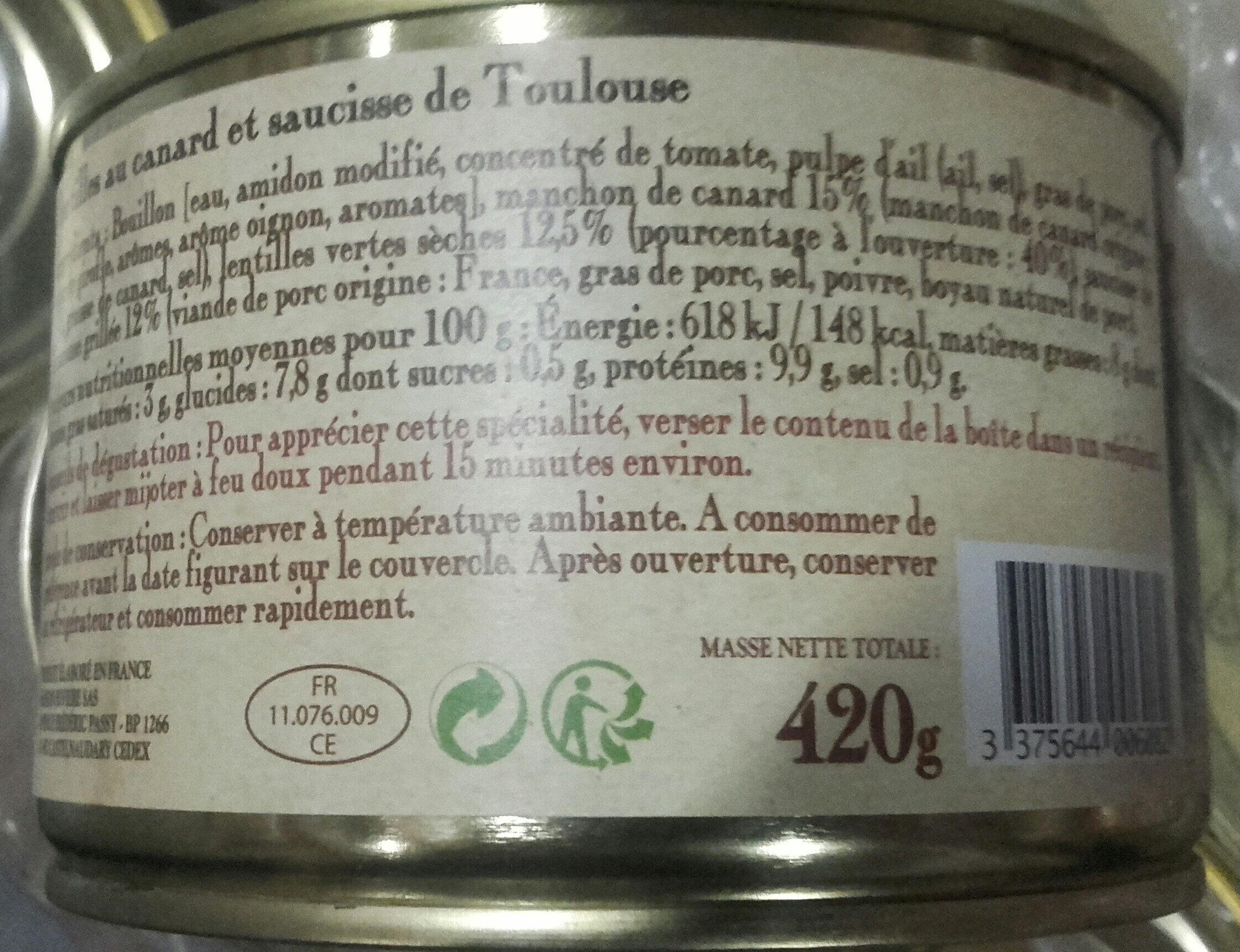 les lentilles au canard et saucisse de Toulouse, boîte 1/2 - Ingredients