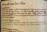 Petit salé aux lentilles MAISON RIVIERE, 4/4, boîte de - Ingrediënten