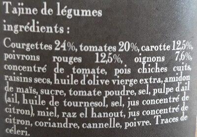 le tajine de légumes - Ingrédients