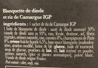 La blanquette de dinde et son riz de Camargue IGP - Ingrediënten - fr