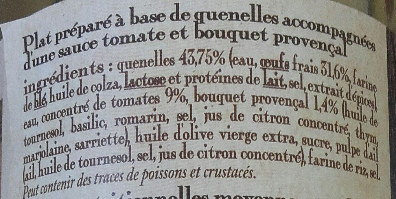 les quenelles sauce tomate et bouquet provençal, boîte 1/2 haute - Ingrediënten