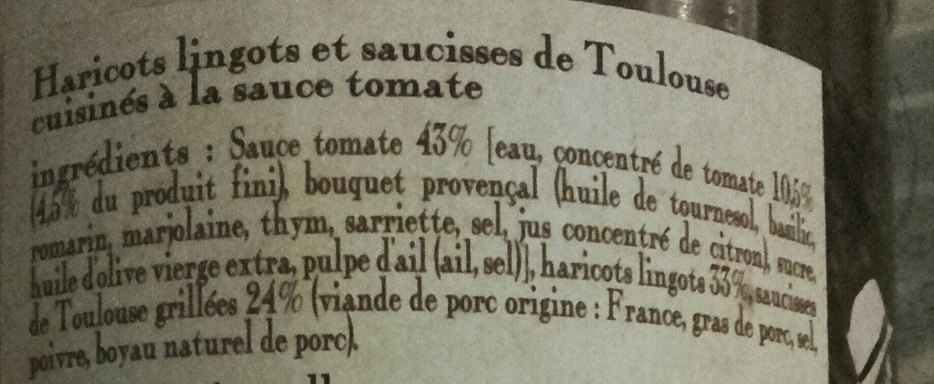 les haricots blancs et saucisses de Toulouse cuisinés à la sauce tomate, boîte 4/4 - Ingredients