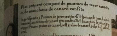 Pommes de terre sarladaises et confit de canard - Ingrediënten - fr