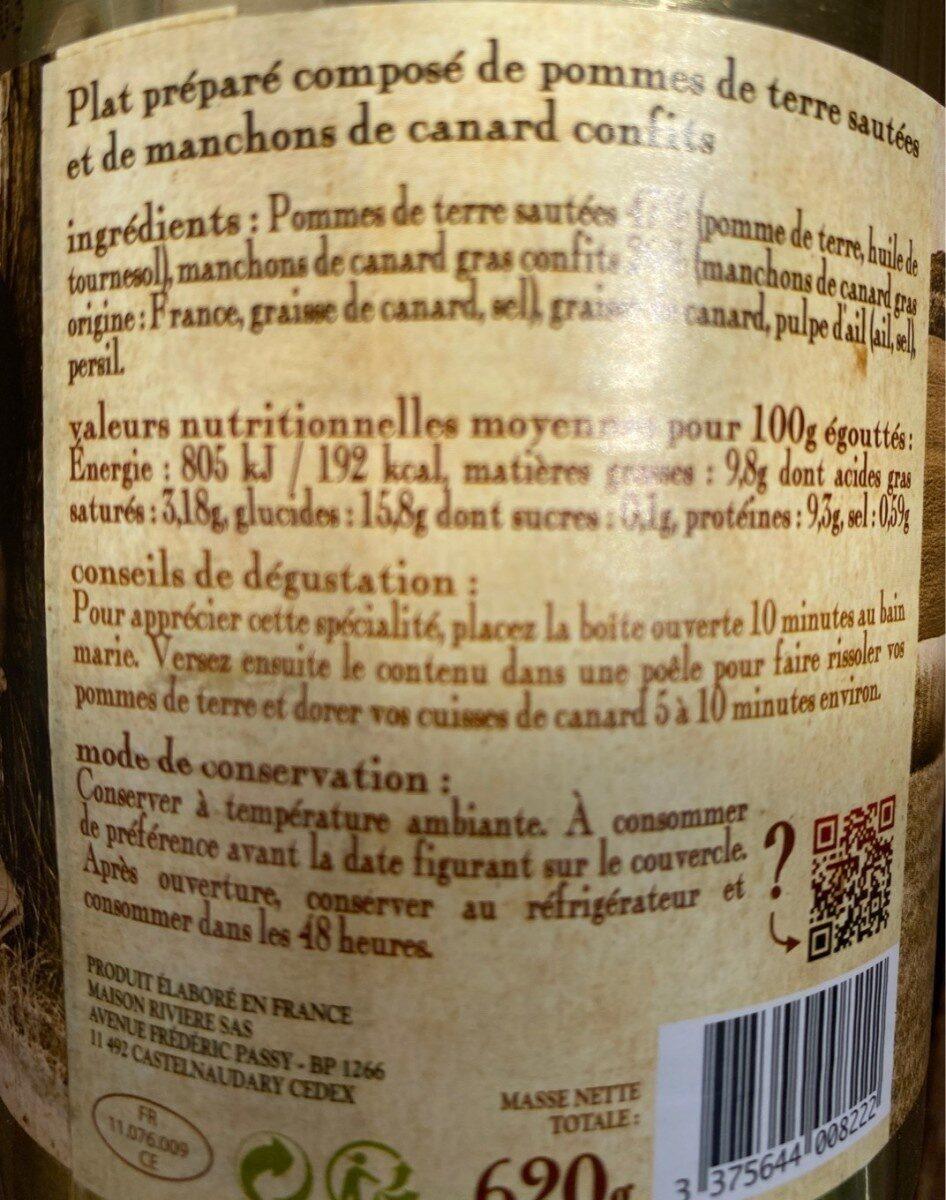 Pommes de terre sarladaises et confit de canard - Voedingswaarden - fr