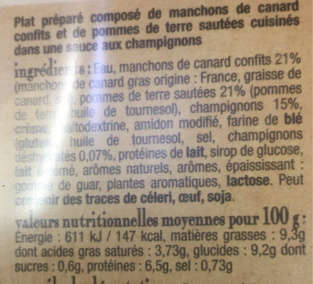 Confit de canard et pommes de terres à la forestiere - Voedingswaarden - fr