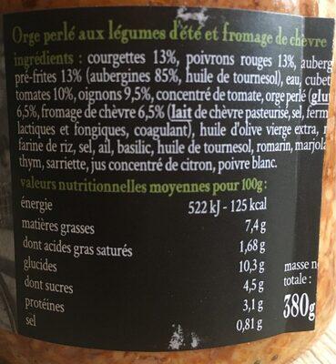 L'orge perlé aux légumes d'été et fromage de chèvre - Voedingswaarden - fr
