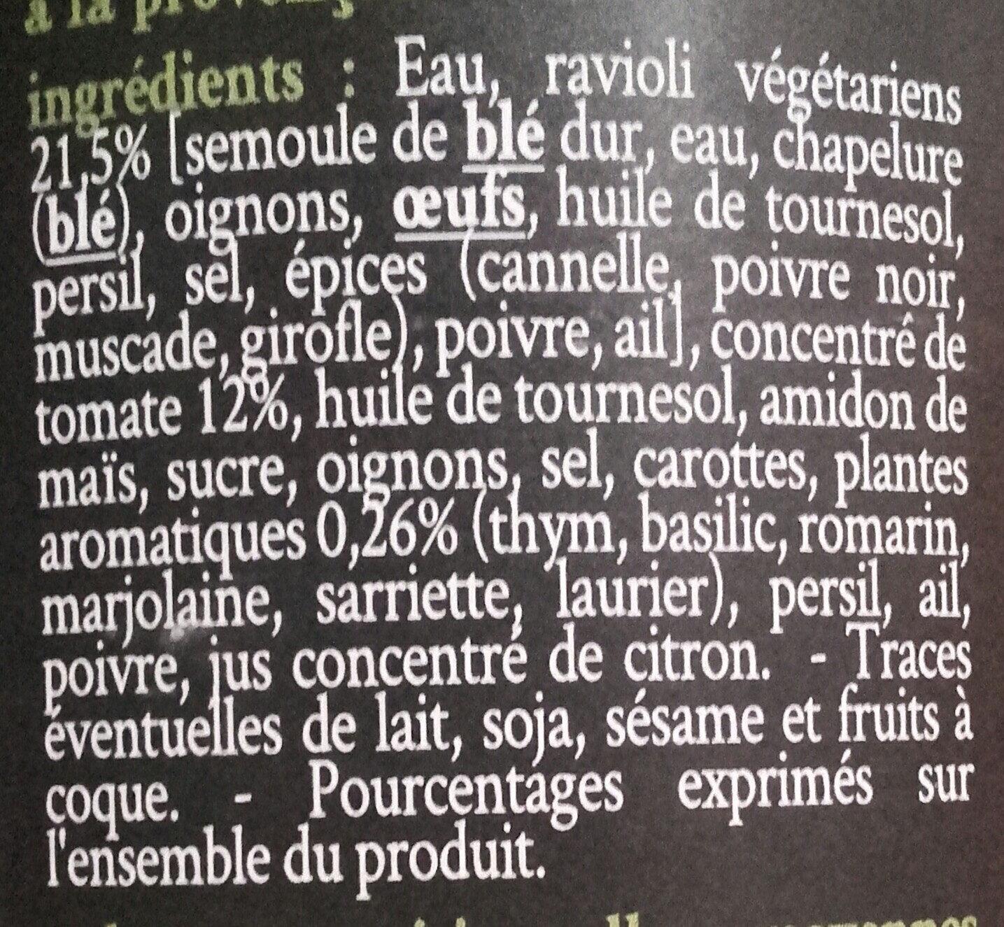 Raviolis vegetariens - Ingrediënten