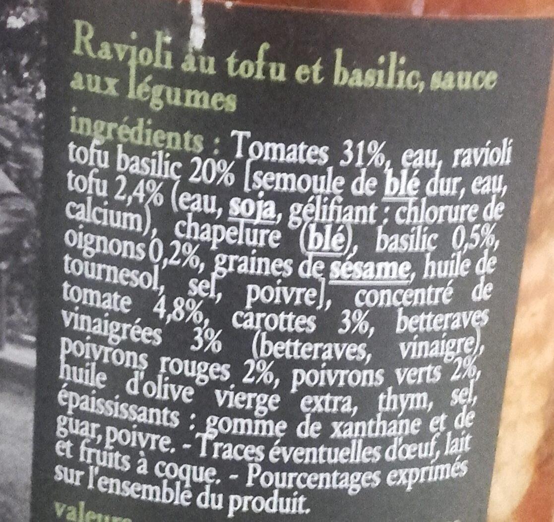 Ravioli au tofu & basilic - Ingrediënten - fr