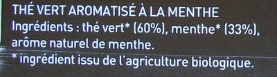 Thé Vert Menthe Bio - Inde - Ingredients - fr