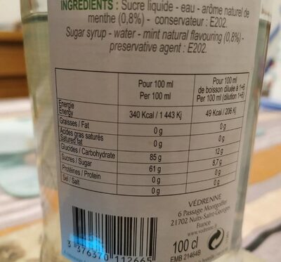 Sirop saveur mojito - Nutrition facts - fr