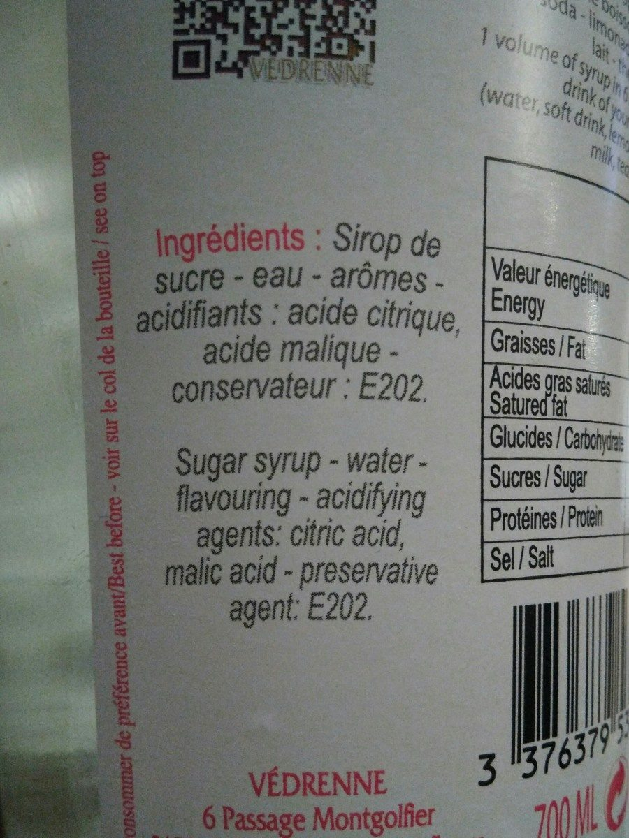 Sirop De Litchi - Ingrediënten - fr
