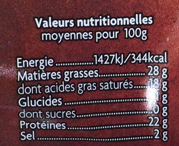 Plateau 3 Saveurs - Informations nutritionnelles - fr