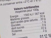 Raclette au lait cru - Informations nutritionnelles - fr
