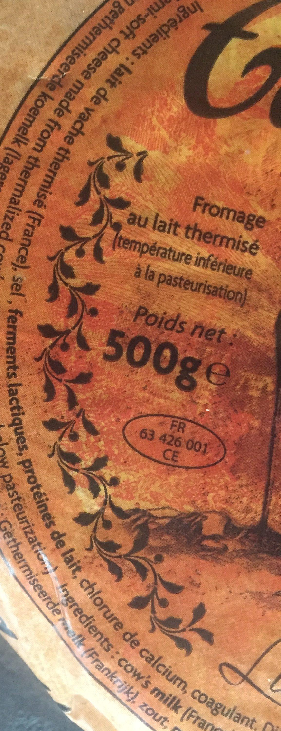 Fromage à Tartiflette 27 % - Ingrédients - fr