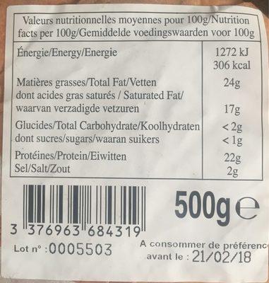 Fromage à Tartiflette 27 % - Informations nutritionnelles - fr