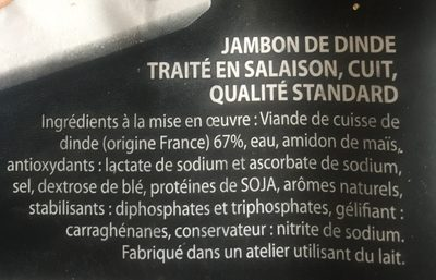 Jambon de dinde - Ingrédients - fr