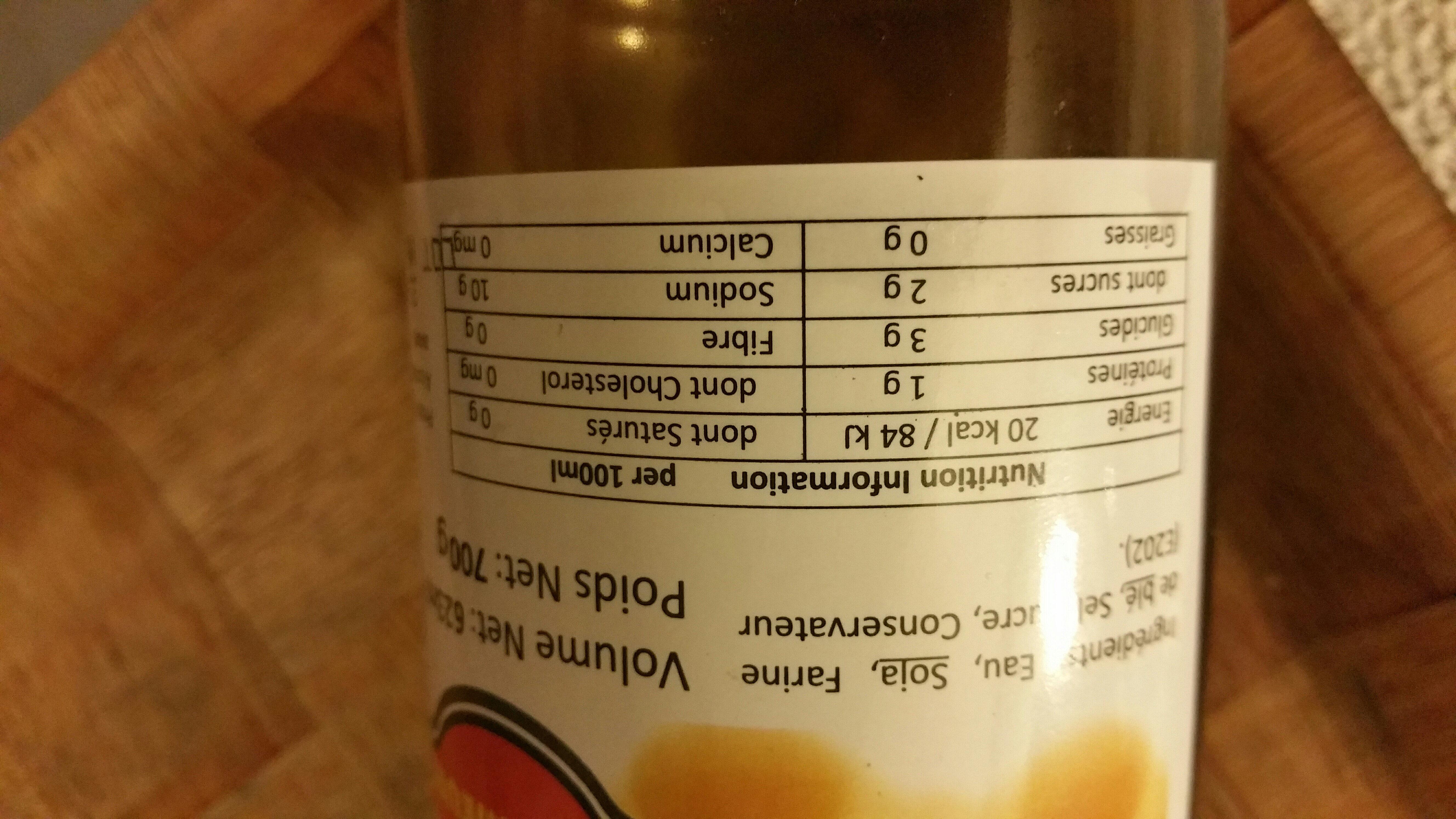 Sauce siave - Valori nutrizionali - fr