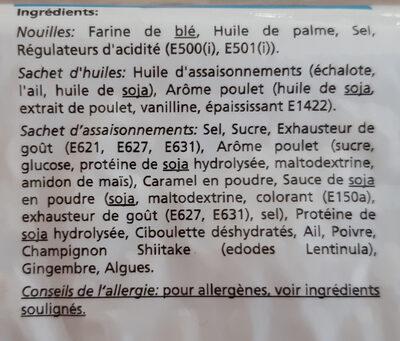 Nouilles instantané Saveur Poulet - Ingrédients - fr