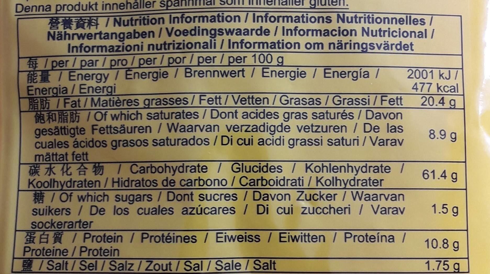 Instant noodles - Nutrition facts - fr