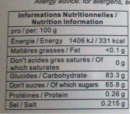 Gingembre Confit - Valori nutrizionali - fr