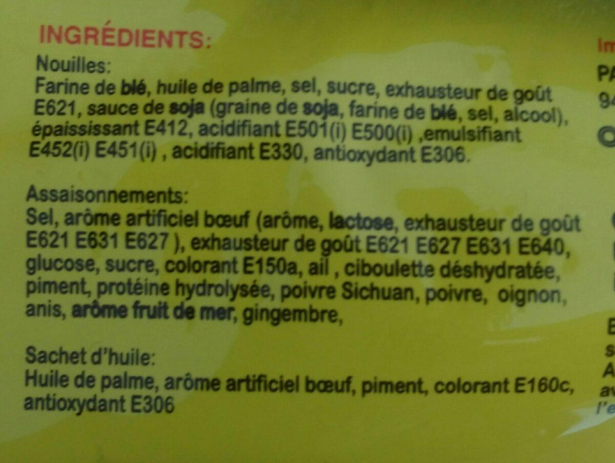 Nouilles instantanées saveur Boeuf - Ingrédients - fr
