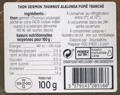 Thon germon fumé tranché - Ingredients