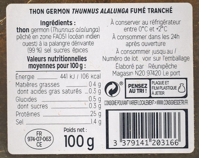 Thon fumé tranché - Ingrédients - fr