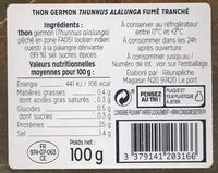Thon germon fumé tranché - Nutrition facts