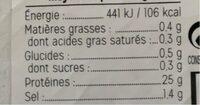 Thon fumé tranché - Informations nutritionnelles - fr