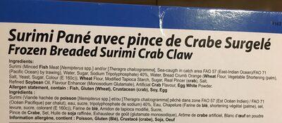 Surimi pane avec pince de crabe - Ingrédients - fr
