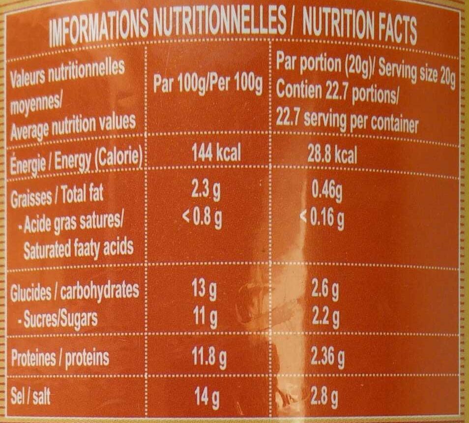 Poisson Gourami en saumure - Informations nutritionnelles