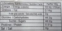 Confiserie banane et cacahuètes Keo Chuoi - Informations nutritionnelles - fr