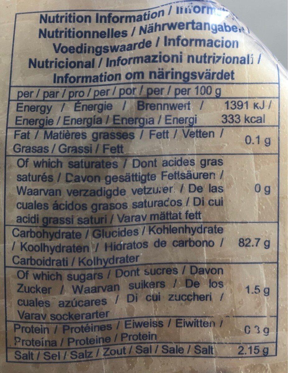 Galettes De Riz - Nutrition facts - fr