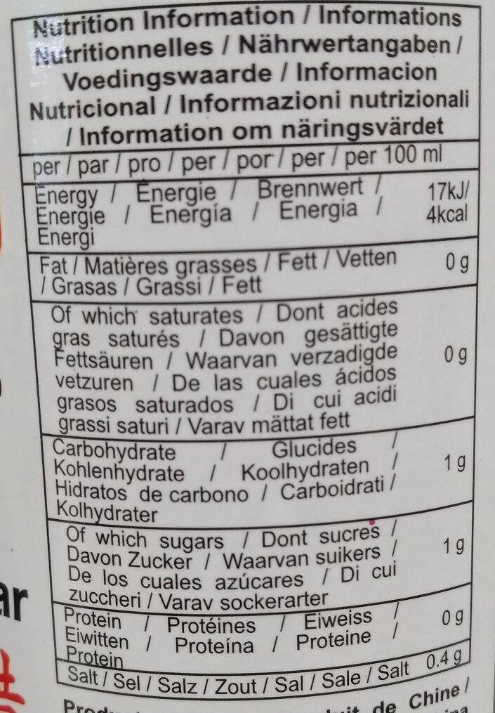 Vinaigre de riz - Valori nutrizionali - fr