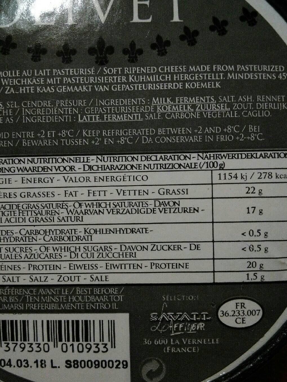 Fromage Olivet Cendré, - Informations nutritionnelles - fr