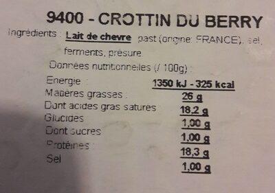Fromage crottin du Berry - Informations nutritionnelles