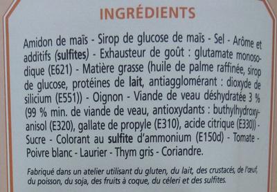 Préparation déshydratée pour fond de veau - Ingrédients - fr