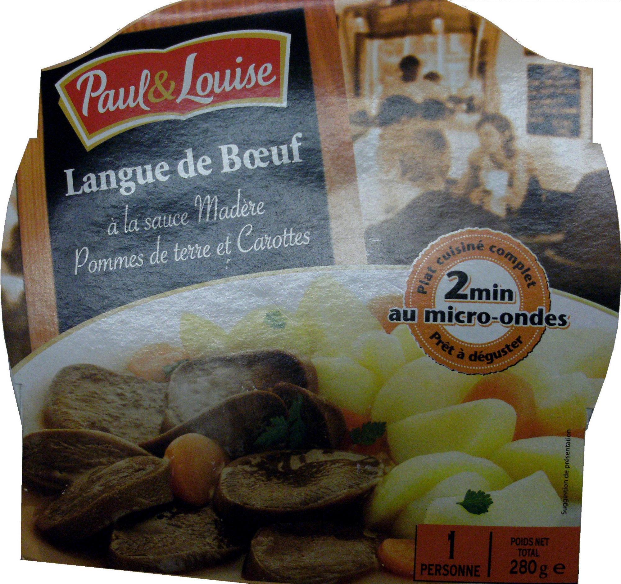 Langue de bœuf à la sauce Madère, Pommes de terre et Carottes - Product - fr