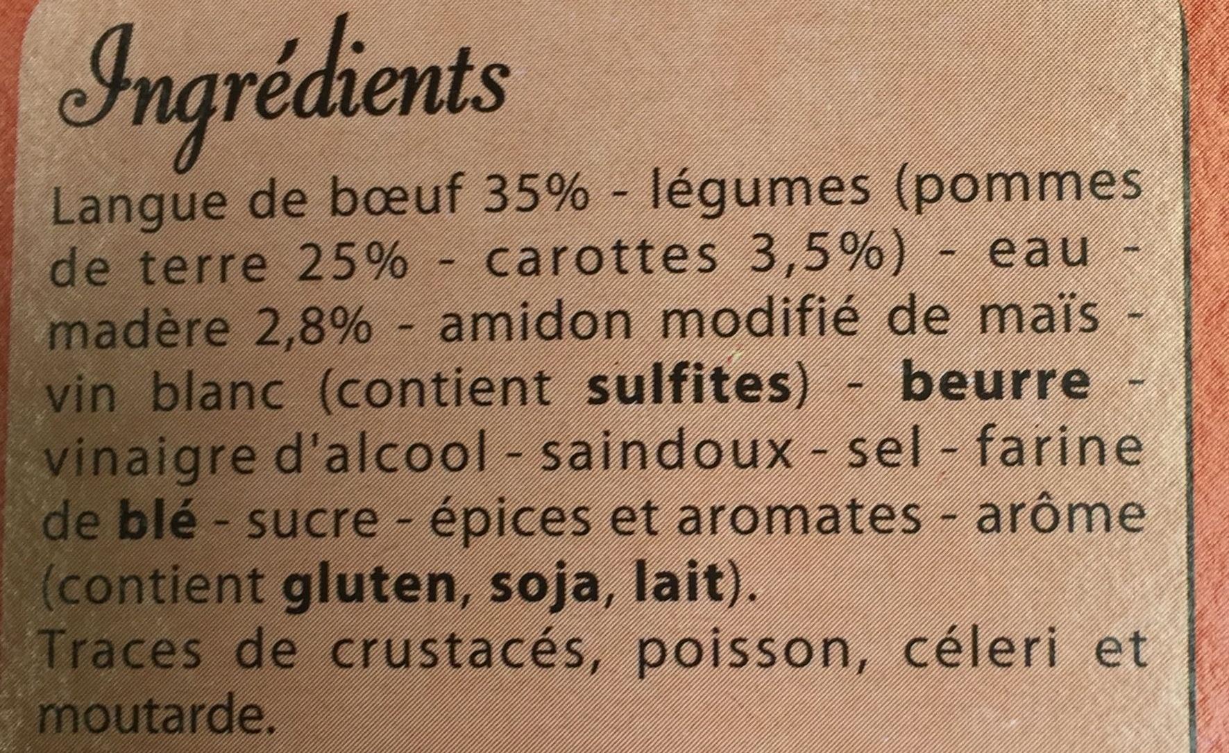 Langue de bœuf à la sauce Madère, Pommes de terre et Carottes - Ingredients - fr