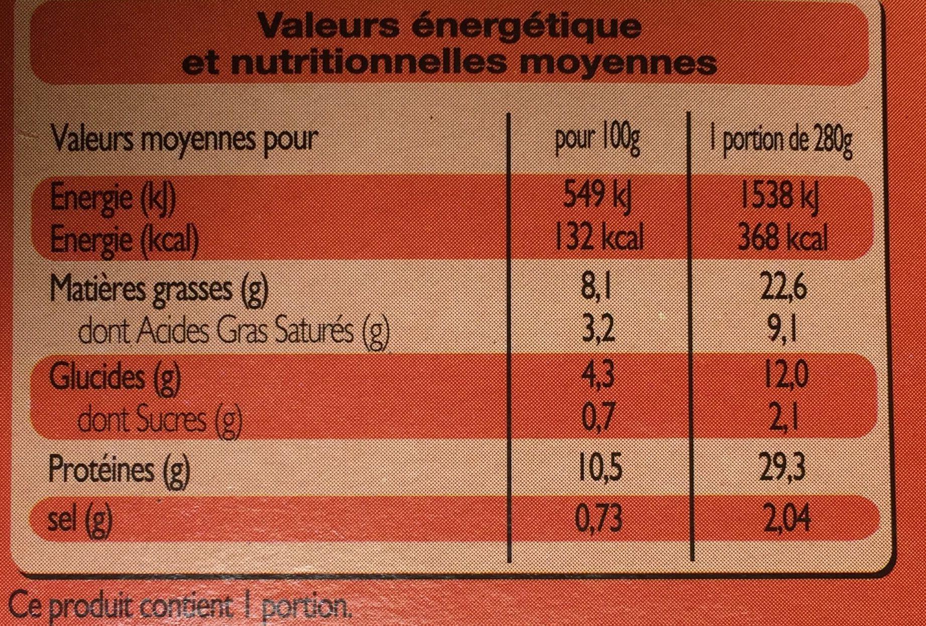 Langue de bœuf à la sauce Madère, Pommes de terre et Carottes - Nutrition facts - fr