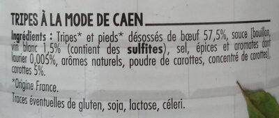 Tripes à la mode de Caen - Ingrédients - fr