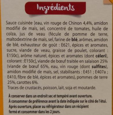 Boeuf Bourguignon aux pommes de terre et aux carottes - Ingrédients