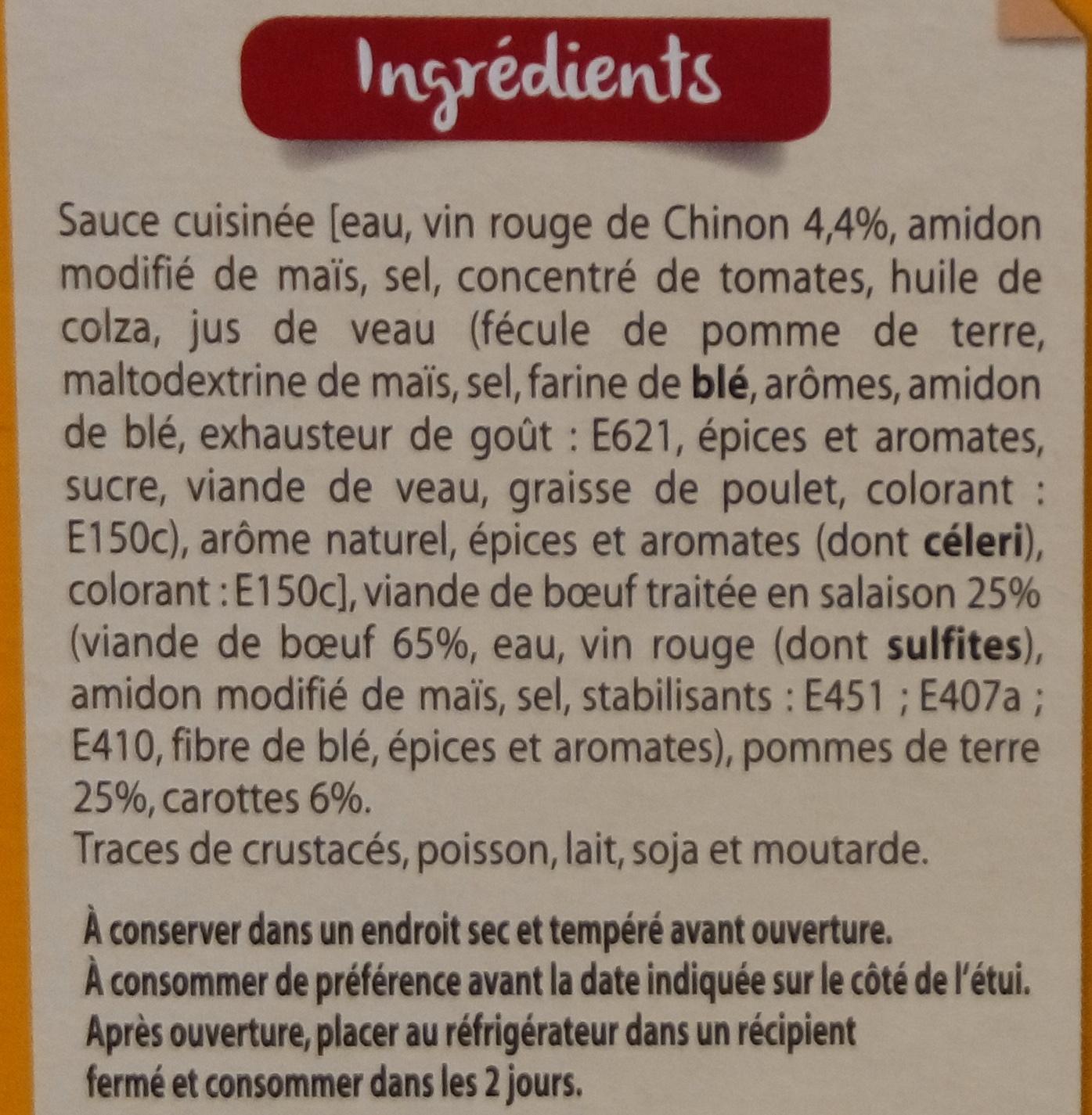 Boeuf Bourguignon aux pommes de terre et aux carottes - Ingrédients - fr