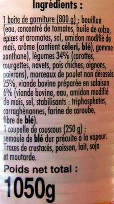 Couscous volaille et boeuf - Ingrediënten - fr