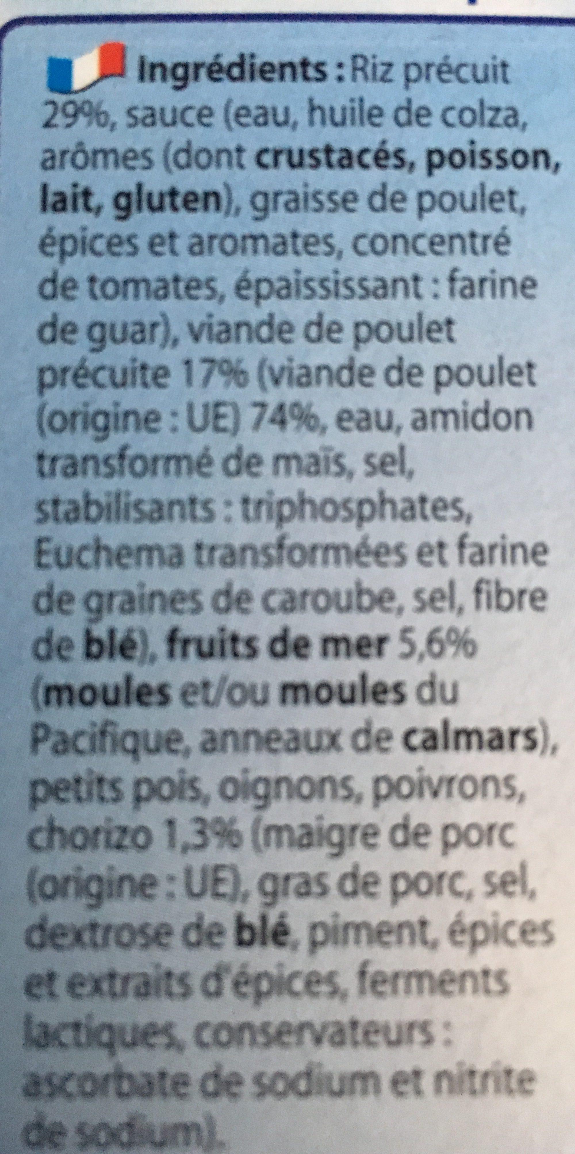 Paul & Louise Barquette Paella Poulet et Fruits de Mer 300 g - Ingrédients