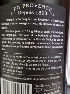 Pastis - Ingredienti