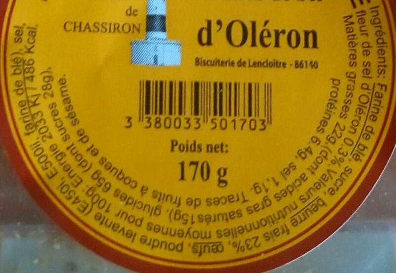 Sablés d'Oléron fleur de sel - Nutrition facts