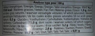 Epicerie / Céréales, Graines, Pâtes, Riz / Pâtes Aux Céréales - Voedingswaarden - fr